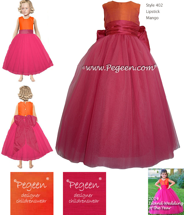 Flower girl dress styled with boing hot pink and mango orange silk and tulle