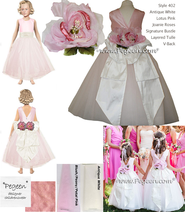Tulle, Lotus Pink flower girl dresses with Joanie Roses