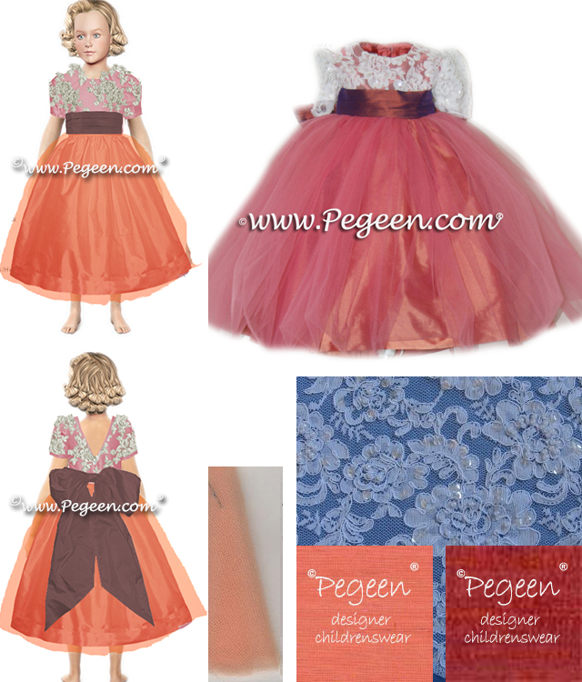 Flower girl dresses in salmon flame and copper silk