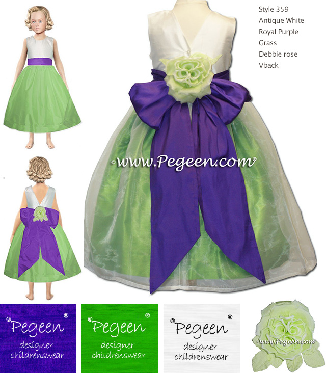 Green grass and purple grape flower girl dresses Style 359