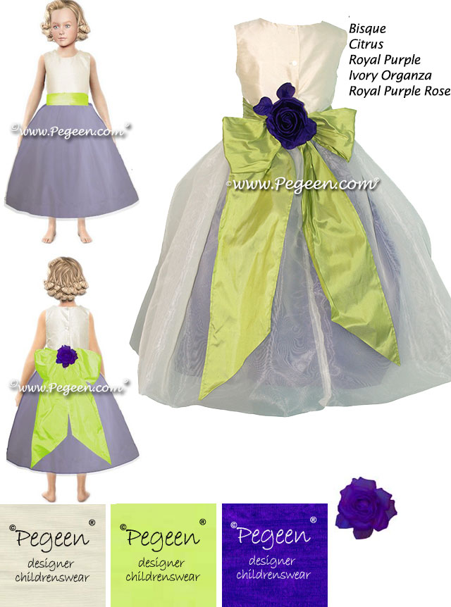 Purple and green flower girl dress made in the Pegeen Dress Dreamer
