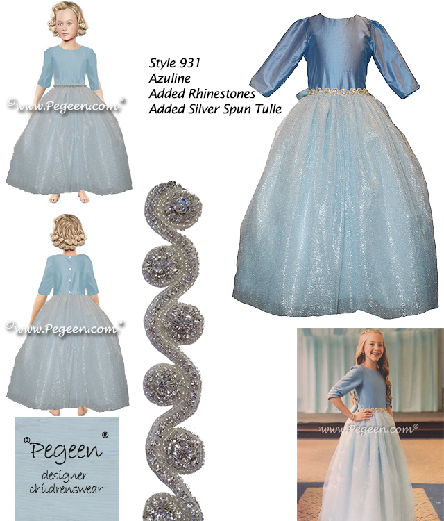 Flower girl dresses in pale blue silk and tulle with 3/4 sleeves