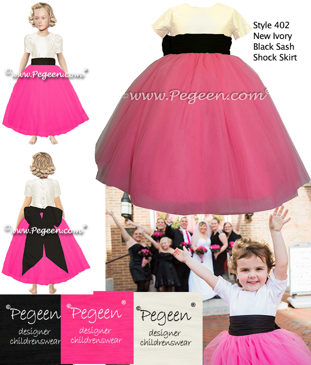 Shock Hot Pink with Black silk from Pegeen Couture