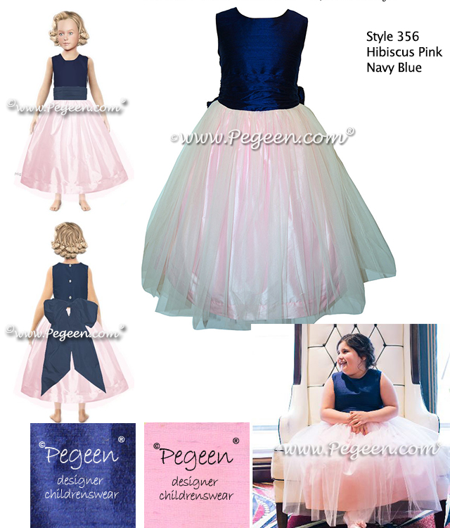 Navy and Pink Tulle flower girl dresses with colored tulle from Pegeen Classics