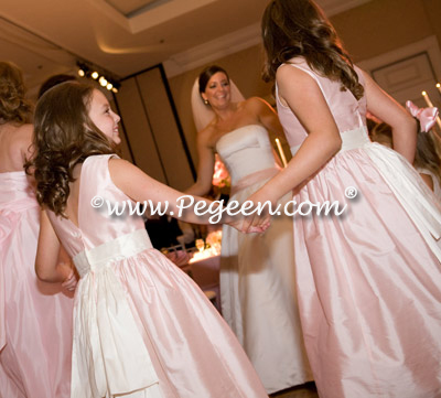 petal pink brides maids and junior bridesmaid
