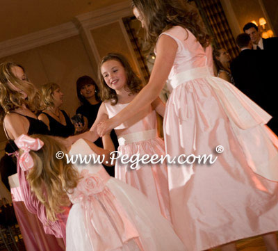 petal pink and ivory dresses with bride