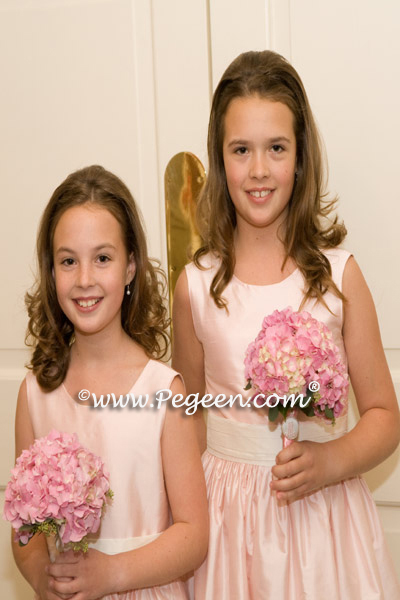Pink and Ivory Silk flower girl dress of the year for 2009