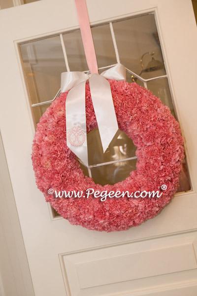Pink Flower wreaths at church