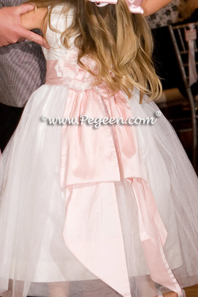 pink and ivory flower girl dress