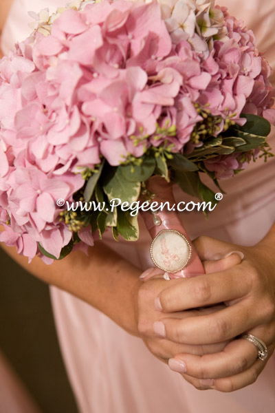 pink and ivory wedding bells