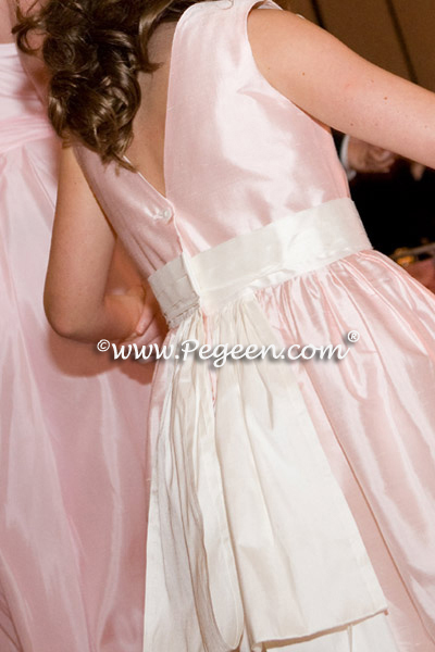 junior bridesmaids dress in  pink and ivory