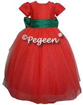 Emerald and RED SILK and RED TULLE holiday ballerina style FLOWER GIRL DRESSES with tulle