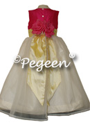 Lemonaid Yellow and Cerise Pink with back bustle and flowers for flower girl dresses of the week