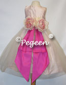 PINK AND HOT PINK SILK TULLE FLOWER GIRL DRESSES