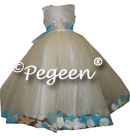 IVORY AND TURQUOISE Beach Wedding FLOWER GIRL DRESSES with added sea shell FLOWER GIRL DRESSES style 333 by pegeen