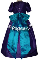 Peacock (teal) and Royal Purple flower girl dresses in silk