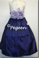 purple grape and ivory silk flower girl dresses