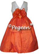 Orange and white silk pearls with bustle and flowers for flower girl dresses of the week