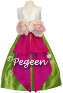 Boing or Hot Pink and Apple Green FLOWER GIRL DRESSES