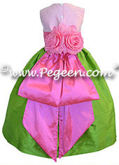 Apple Green and Shock Hot Pink Silk flower girl dresses