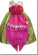 Hot Pink and green citrus infant flower girl dresses