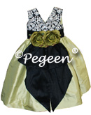 Citrus green and black damask print with back bustle and flowers for flower girl dresses of the week