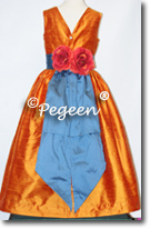 orange and blue flower girl dresses