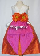 orange and shock (hot pink) silk flower girl dresses