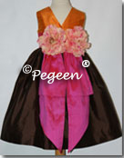 Brown orange and pink flower girl dresses