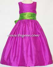 Fuschia and key lime green silk flower girl dress
