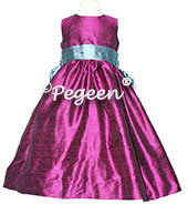 Berry and Storm Blue Flower Girl Dress by Pegeen Classics Style 398