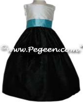 Black and Tiffany Blue silk flower girl dress