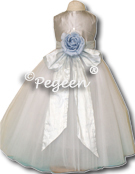 platinum silver and light blue flower girl dress of the week
