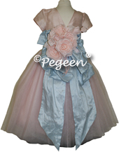 Ballet pink and cloud blue silk and tulle flower girl dress with 1/4 cap sleeves and flowers