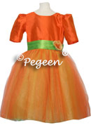 ORANGE AND GREEN  SILK TULLE FLOWER GIRL DRESSES