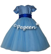 402-Bluemoon and saphire tulle flower girl dress with layers of tulle