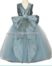 402- Cadet Blue tulle flower girl dress for West Point Wedding