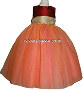 FLOWER GIRL DRESSES with layers and layers of tulle in Melon, Claret Red and Pure Gold