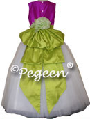 Fuschia Pink and Sprite Green Tulle FLOWER GIRL DRESSES