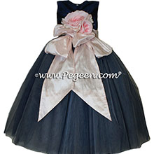 Navy and shell pink tulle flower girl dresses