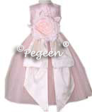 BABY PINK AND IVORY SILK TULLE FLOWER GIRL DRESSES