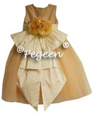 PEACH SILK TULLE FLOWER GIRL DRESSES