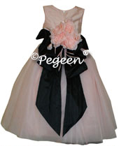 Ballet pink and black tulle silk flower girl dress from the Couture Collection - style 402