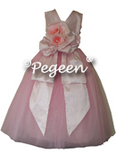 Gumdrop Pink Tulle and Peony Pink Silk with back bow and flowers for flower girl dresses of the week