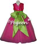 Apple Green and Shock Pink with back bow and flowers for flower girl dresses of the week