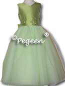 sprite green ballerina style FLOWER GIRL DRESSES with layers and layers of tulle
