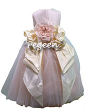 Champagne Pink and Buttercreme ballerina style Flower Girl Dresses
