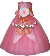 Gumdrop pink and coral rose tulle flower girl dresses