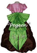 Pink, Brown and Green silk flower girl dress with monogramming from the Pegeen Couture Collection