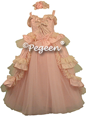Pink and Bisque Ruffled Layers and Glitter Tulle Nutcracker Dress or Flower Girl Dress Style 405 by Pegeen Couture